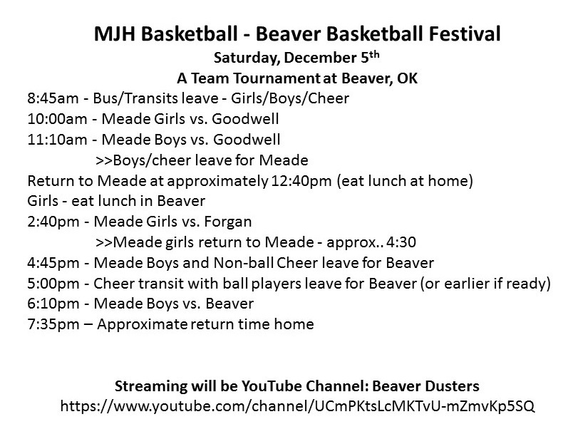 Basketball @ Beaver Schedule