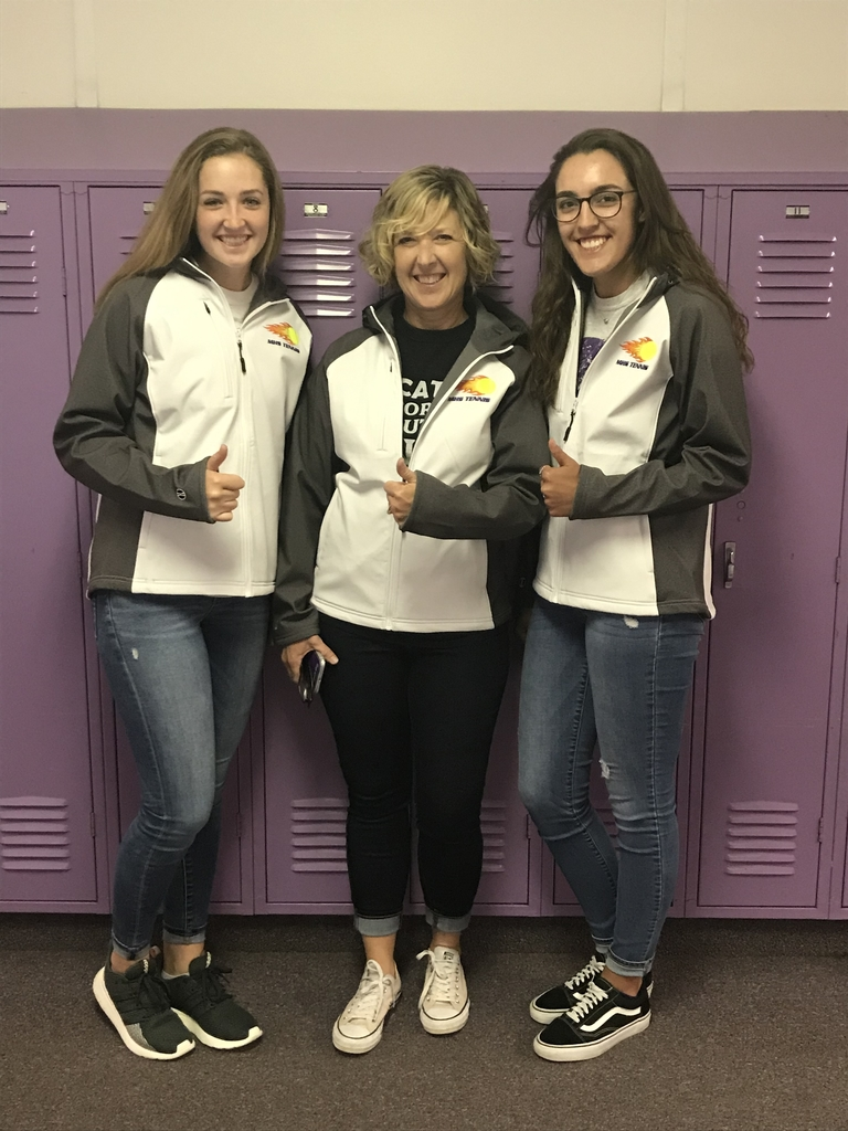 Ali, Coach Bigler, and Monica sporting the new Tennis warmups. Look Good, Feel Good, Play Good(well)