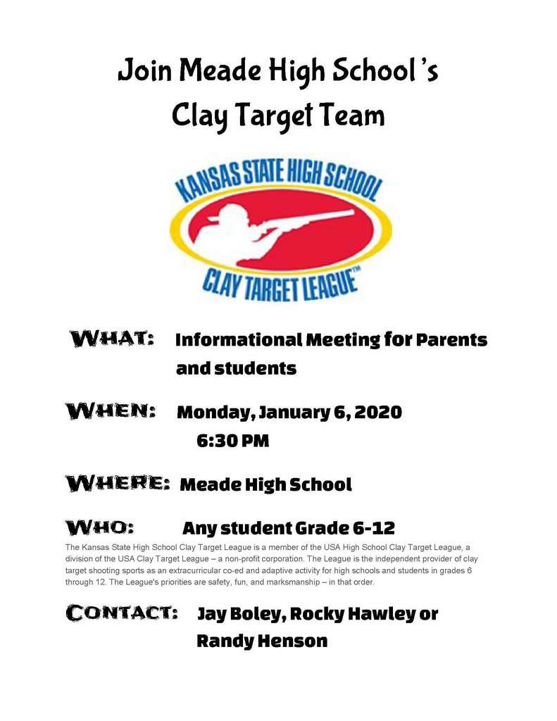 Clay Target Team meeting flyer