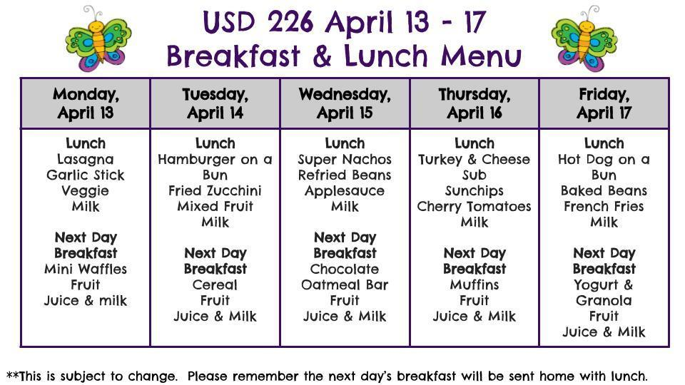 USD 226 Menu April 13 -17