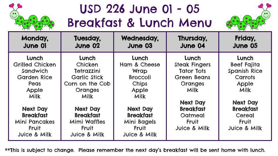 Menu for June 01 - 05