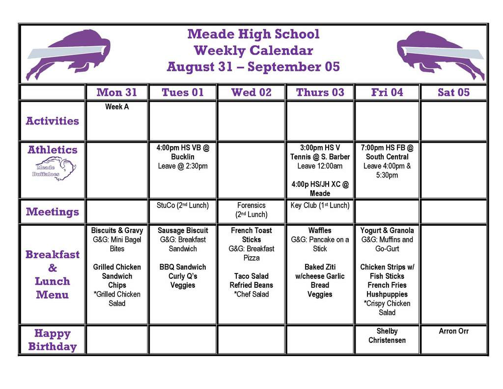 MHS Weekly Bulletin